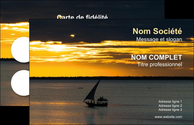 imprimer carte de visite sejours pirogue couche de soleil mer MLGI36923
