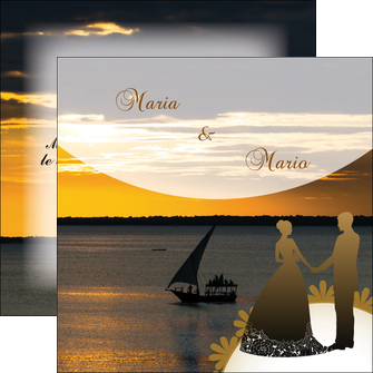personnaliser maquette flyers mer pirogue couche du soleil MLGI37199