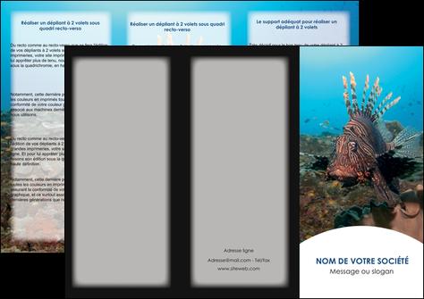 faire modele a imprimer depliant 3 volets  6 pages  animal poissons animal bleu MLGI39573