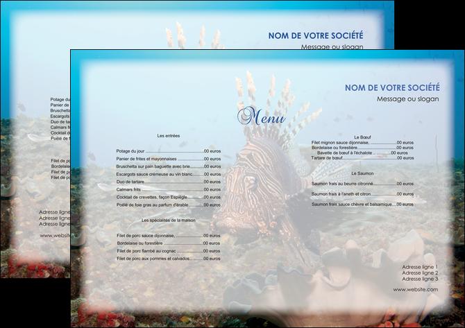 impression set de table animal poissons animal bleu MLGI39577