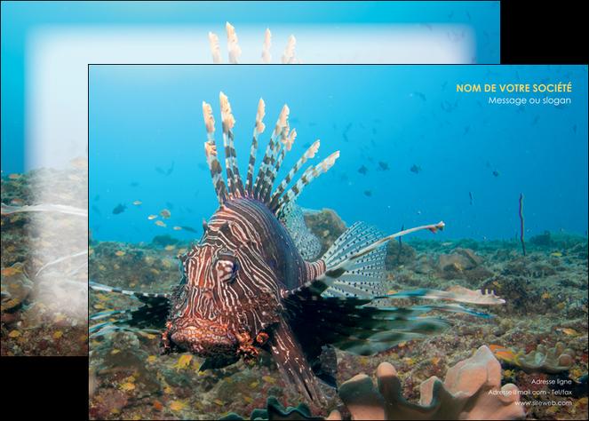 creer modele en ligne affiche animal poissons animal bleu MLGI39581