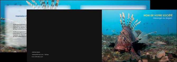creer modele en ligne depliant 2 volets  4 pages  animal poissons animal bleu MLGI39583