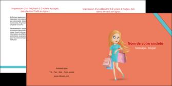 maquette en ligne a personnaliser depliant 2 volets  4 pages  vetements et accessoires shopping magasin fille MLIG46711