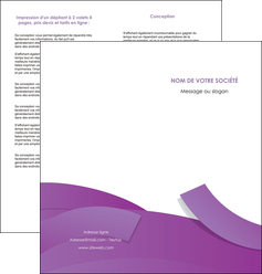 faire modele a imprimer depliant 2 volets  4 pages  violet fond violet violet pastel MIF56937