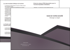 faire modele a imprimer depliant 2 volets  4 pages  violet noir courbes MIF58399