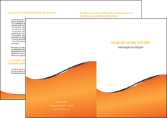 maquette en ligne a personnaliser depliant 2 volets  4 pages  orange gris courbes MLIG58861