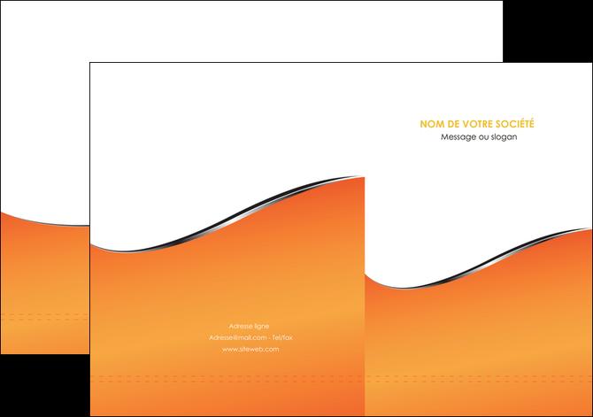 imprimerie pochette a rabat orange gris courbes MLGI58867