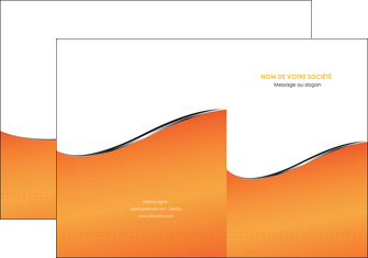 imprimerie pochette a rabat orange gris courbes MLIG58867