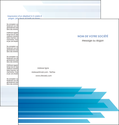 imprimerie depliant 2 volets  4 pages  bleu couleurs froides trait MLGI59607