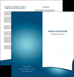 creer modele en ligne depliant 2 volets  4 pages  bleu fond  bleu couleurs froides MIF64265