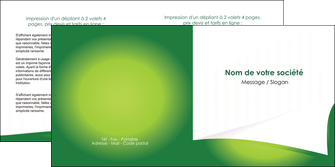 personnaliser maquette depliant 2 volets  4 pages  vert fond vert abstrait MIF64371