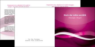 modele en ligne depliant 2 volets  4 pages  violet violet fonce couleur MIF64545