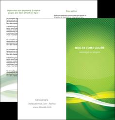 faire depliant 2 volets  4 pages  vert verte fond vert MLGI64761