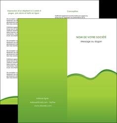 maquette en ligne a personnaliser depliant 2 volets  4 pages  espaces verts vert vert pastel couleur pastel MLGI68043