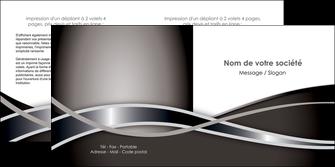 modele depliant 2 volets  4 pages  web design noir fond gris simple MIS70999