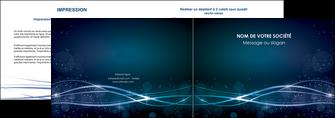modele depliant 2 volets  4 pages  fond  bleu couleurs froides structure en bleu MIF72349