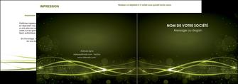 faire modele a imprimer depliant 2 volets  4 pages  fond vert structure en vert abstrait MIF72399
