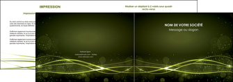 creation graphique en ligne depliant 2 volets  4 pages  fond vert structure en vert abstrait MIF72401