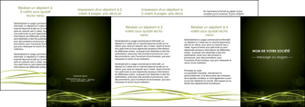 faire depliant 4 volets  8 pages  fond vert structure en vert abstrait MIF72433