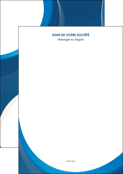 Affiche modèle et exemple bleu, fond bleu, couleurs froides