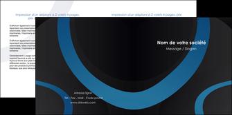 creer modele en ligne depliant 2 volets  4 pages  web design noir fond noir bleu MLGI78687