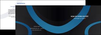 faire depliant 2 volets  4 pages  web design noir fond noir bleu MLGI78703
